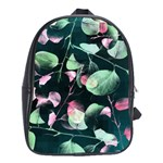 Modern Green And Pink Leaves School Bags (XL)  Front