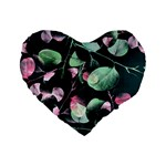 Modern Green And Pink Leaves Standard 16  Premium Heart Shape Cushions Front