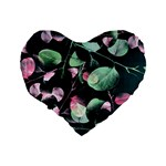 Modern Green And Pink Leaves Standard 16  Premium Heart Shape Cushions Back