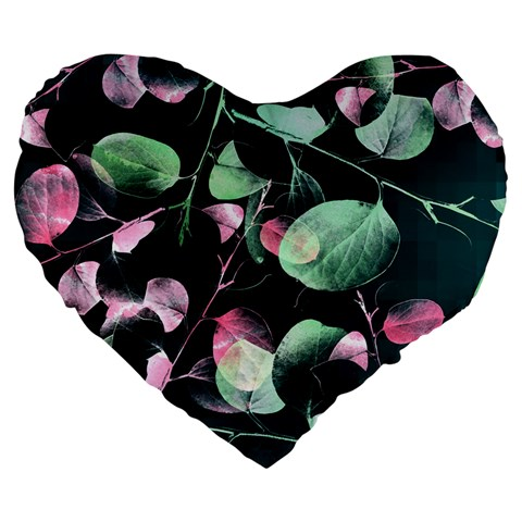 Modern Green And Pink Leaves Large 19  Premium Heart Shape Cushions