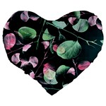 Modern Green And Pink Leaves Large 19  Premium Heart Shape Cushions Back