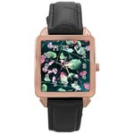 Modern Green And Pink Leaves Rose Gold Leather Watch  Front