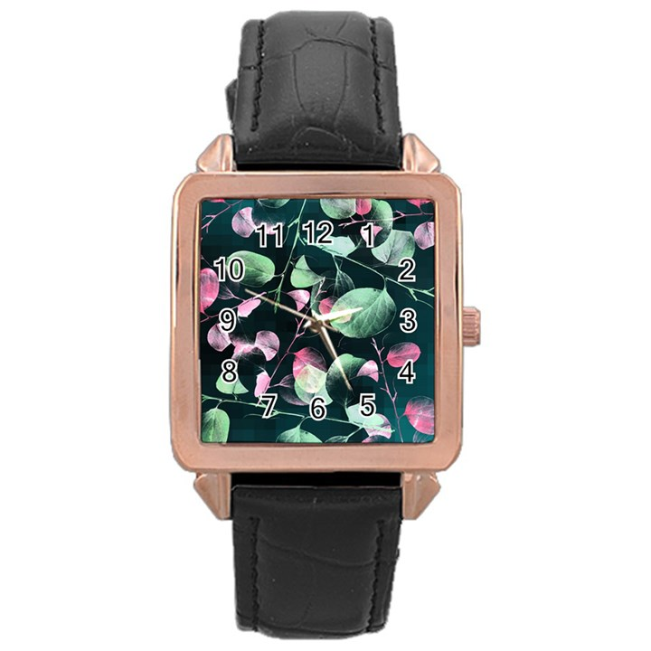 Modern Green And Pink Leaves Rose Gold Leather Watch
