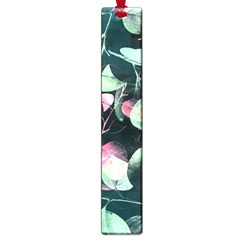 Modern Green And Pink Leaves Large Book Marks