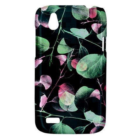 Modern Green And Pink Leaves HTC Desire V (T328W) Hardshell Case