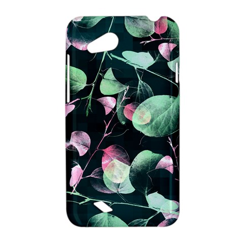 Modern Green And Pink Leaves HTC Desire VC (T328D) Hardshell Case