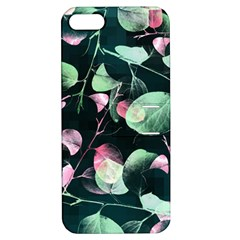 Modern Green And Pink Leaves Apple Iphone 5 Hardshell Case With Stand
