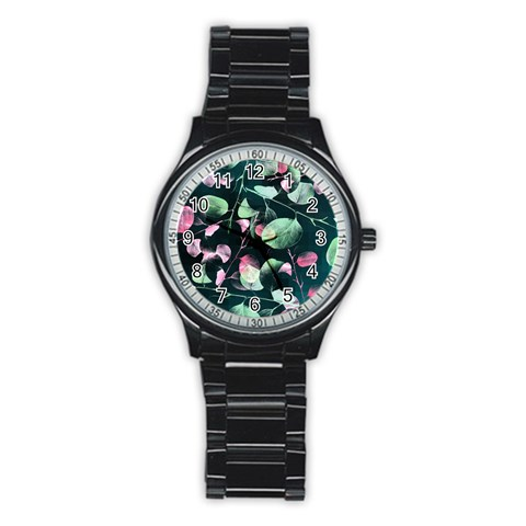 Modern Green And Pink Leaves Stainless Steel Round Watch