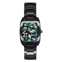 Modern Green And Pink Leaves Stainless Steel Barrel Watch