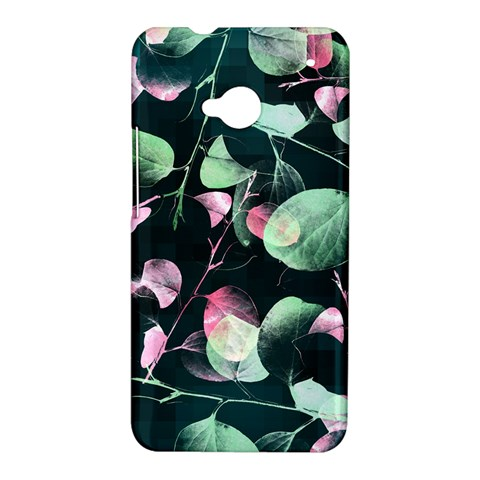 Modern Green And Pink Leaves HTC One M7 Hardshell Case