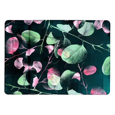 Modern Green And Pink Leaves Samsung Galaxy Tab 10.1  P7500 Flip Case
