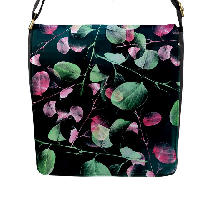 Modern Green And Pink Leaves Flap Messenger Bag (L)