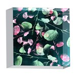 Modern Green And Pink Leaves 5  x 5  Acrylic Photo Blocks Front