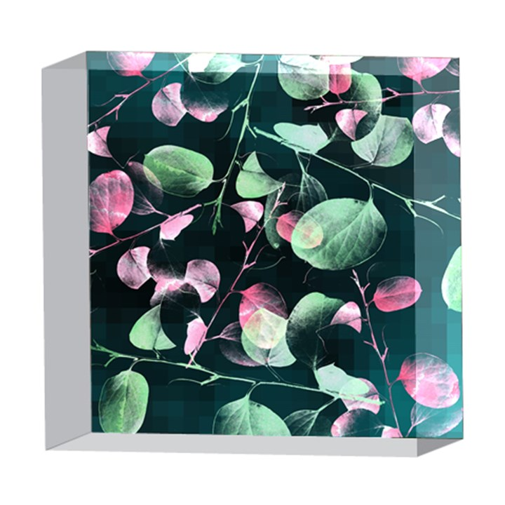 Modern Green And Pink Leaves 5  x 5  Acrylic Photo Blocks
