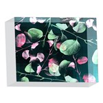 Modern Green And Pink Leaves 5 x 7  Acrylic Photo Blocks Front