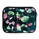 Modern Green And Pink Leaves Apple iPad 2/3/4 Zipper Cases Front