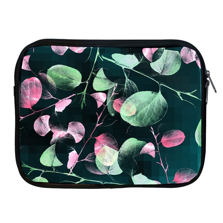 Modern Green And Pink Leaves Apple iPad 2/3/4 Zipper Cases