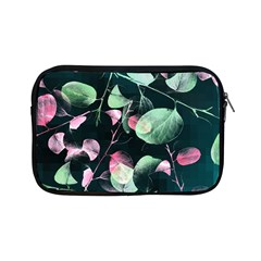 Modern Green And Pink Leaves Apple iPad Mini Zipper Cases