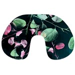 Modern Green And Pink Leaves Travel Neck Pillows Front