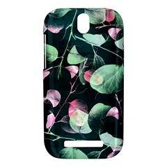 Modern Green And Pink Leaves HTC One SV Hardshell Case