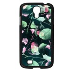 Modern Green And Pink Leaves Samsung Galaxy S4 I9500/ I9505 Case (Black) Front