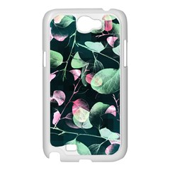 Modern Green And Pink Leaves Samsung Galaxy Note 2 Case (White)
