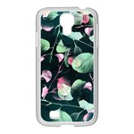 Modern Green And Pink Leaves Samsung GALAXY S4 I9500/ I9505 Case (White) Front