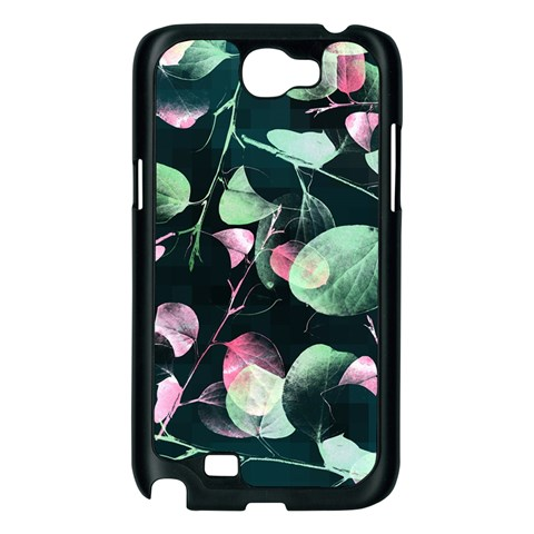 Modern Green And Pink Leaves Samsung Galaxy Note 2 Case (Black)