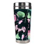 Modern Green And Pink Leaves Stainless Steel Travel Tumblers Left