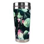 Modern Green And Pink Leaves Stainless Steel Travel Tumblers Center