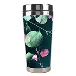 Modern Green And Pink Leaves Stainless Steel Travel Tumblers Right