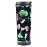 Modern Green And Pink Leaves Travel Tumbler Left