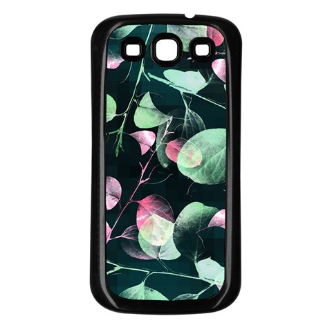 Modern Green And Pink Leaves Samsung Galaxy S3 Back Case (Black)