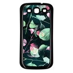 Modern Green And Pink Leaves Samsung Galaxy S3 Back Case (Black) Front