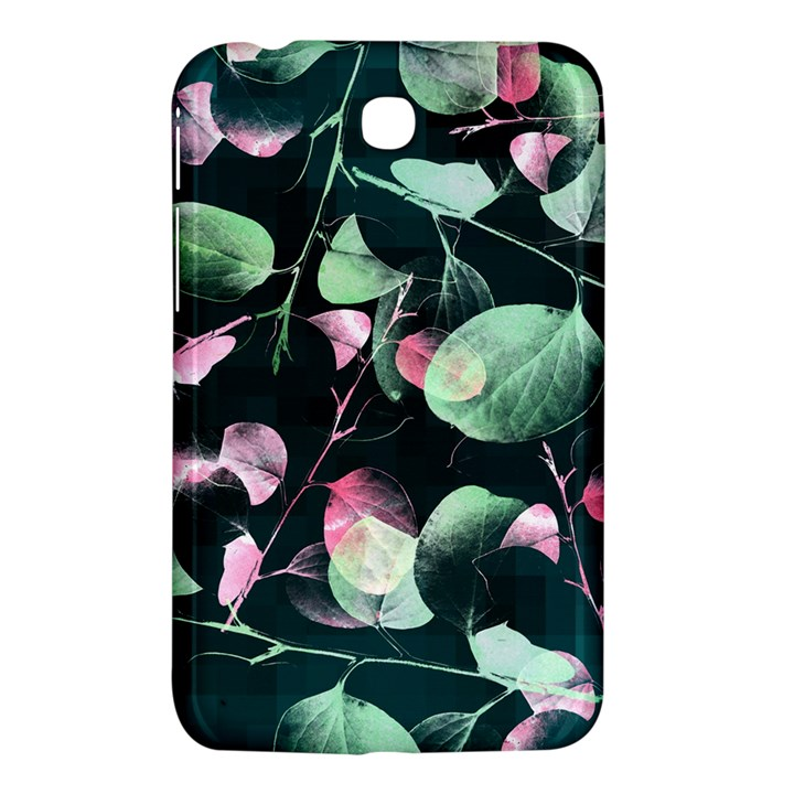 Modern Green And Pink Leaves Samsung Galaxy Tab 3 (7 ) P3200 Hardshell Case