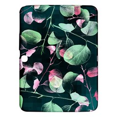 Modern Green And Pink Leaves Samsung Galaxy Tab 3 (10.1 ) P5200 Hardshell Case