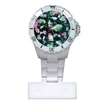 Modern Green And Pink Leaves Plastic Nurses Watch Front