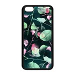 Modern Green And Pink Leaves Apple iPhone 5C Seamless Case (Black) Front