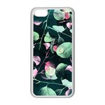 Modern Green And Pink Leaves Apple iPhone 5C Seamless Case (White) Front