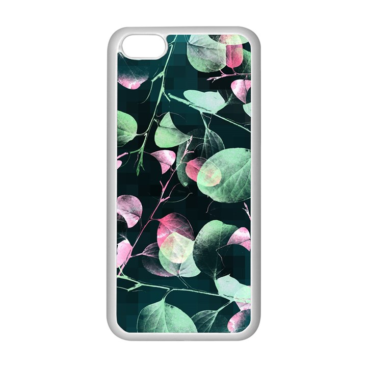 Modern Green And Pink Leaves Apple iPhone 5C Seamless Case (White)