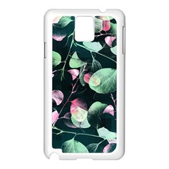 Modern Green And Pink Leaves Samsung Galaxy Note 3 N9005 Case (White)