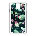 Modern Green And Pink Leaves Samsung Galaxy Note 3 N9005 Case (White) Front