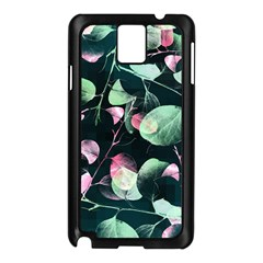 Modern Green And Pink Leaves Samsung Galaxy Note 3 N9005 Case (black)