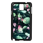 Modern Green And Pink Leaves Samsung Galaxy Note 3 N9005 Case (Black) Front