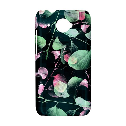 Modern Green And Pink Leaves HTC Desire 601 Hardshell Case