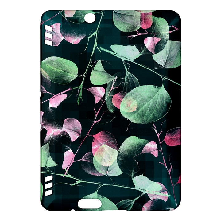 Modern Green And Pink Leaves Kindle Fire HDX Hardshell Case