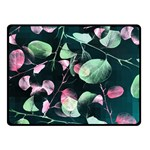 Modern Green And Pink Leaves Double Sided Fleece Blanket (Small)  50 x40 Blanket Back