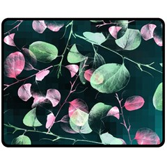 Modern Green And Pink Leaves Double Sided Fleece Blanket (medium)