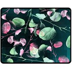 Modern Green And Pink Leaves Double Sided Fleece Blanket (Medium)  60 x50 Blanket Front