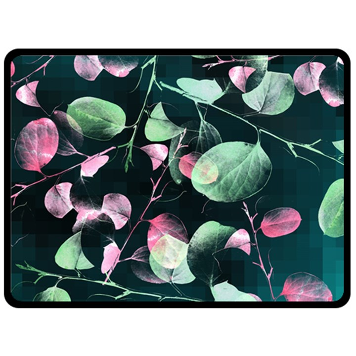 Modern Green And Pink Leaves Double Sided Fleece Blanket (Large)